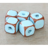10mm Cube Pueblo Ceramic Beads, Light Bl..
