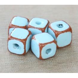 10mm Cube Pueblo Ceramic Beads, Light Blue