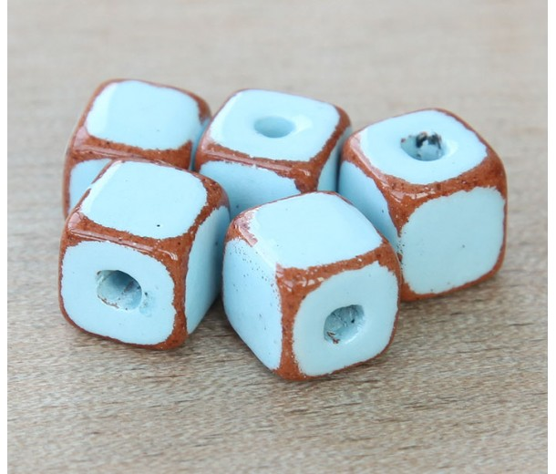 10mm Cube Pueblo Ceramic Beads, Light Blue, Pack of 4