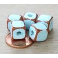 10mm Cube Pueblo Ceramic Beads, Light Blue, Pack of 4