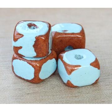 12x9mm Brick Pueblo Ceramic Beads, Light Blue, Pack of 3