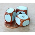 12x9mm Brick Pueblo Ceramic Beads, Light Blue
