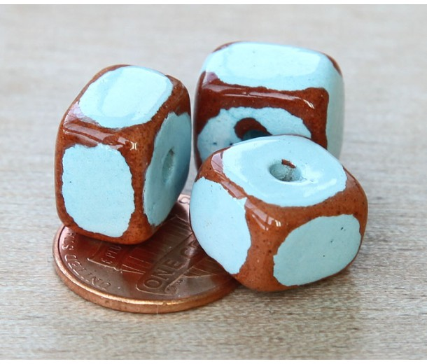 12x9mm Brick Pueblo Ceramic Beads, Light Blue, Pack of 3