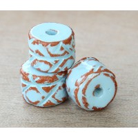 12x10mm Ethnic Barrel Pueblo Ceramic Bead, Light Blue