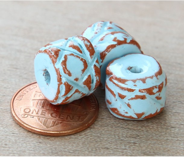 12x10mm Ethnic Barrel Pueblo Ceramic Bead, Light Blue, 1 Piece