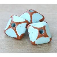 15mm Pillow Pueblo Ceramic Bead, Light Blue