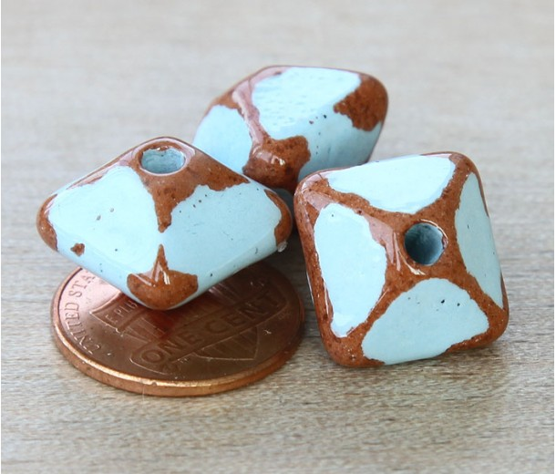 15mm Pillow Pueblo Ceramic Bead, Light Blue