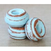 16x10mm Ridged Donut Pueblo Ceramic Bead, Light Blue