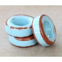 20mm Ring Pueblo Ceramic Bead, Light Blue