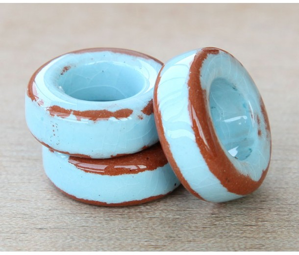 20mm Ring Pueblo Ceramic Bead, Light Blue