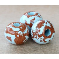 20mm Round Pueblo Ceramic Bead, Light Blue, 1 Piece