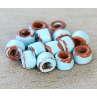 6x4mm Mini Barrel Pueblo Ceramic Beads, Light Blue, Pack of 10