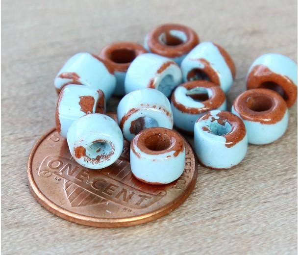6x4mm Mini Barrel Pueblo Ceramic Beads, Light Blue