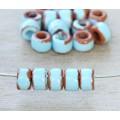 6x4mm Mini Barrel Pueblo Ceramic Beads, Light Blue, Pack of 10