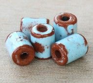 10x8mm Thick Barrel Pueblo Ceramic Beads, Light Blue