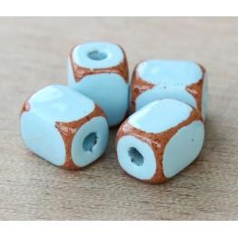 10x8mm Brick Pueblo Ceramic Beads, Light Blue