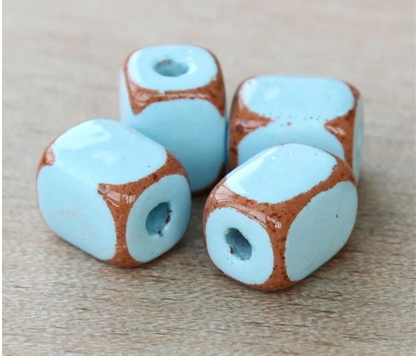10x8mm Brick Pueblo Ceramic Beads, Light Blue, Pack of 4