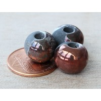 12mm Round Raku Ceramic Beads, Tricolor, Pack of 2