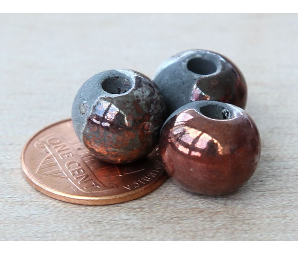 12mm Round Raku Ceramic Beads, Tricolor