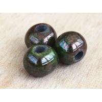 12mm Round Raku Ceramic Beads, Forest