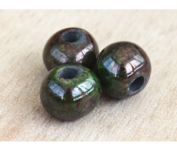 12mm Round Raku Ceramic Beads, Forest