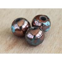 12mm Round Raku Ceramic Beads, Sea Copper