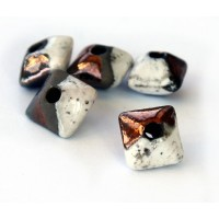 12mm Pillow Raku Ceramic Beads, Tricolor