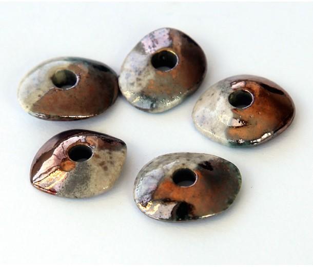 16x12mm Small Cornflake Raku Ceramic Beads, Tricolor