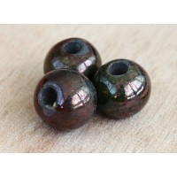 15mm Round Raku Ceramic Bead, Forest, 1 Piece
