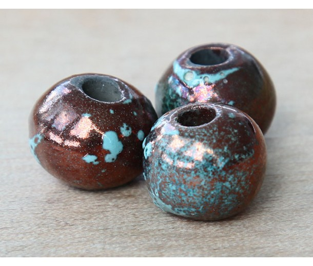15mm Round Raku Ceramic Bead, Sea Copper