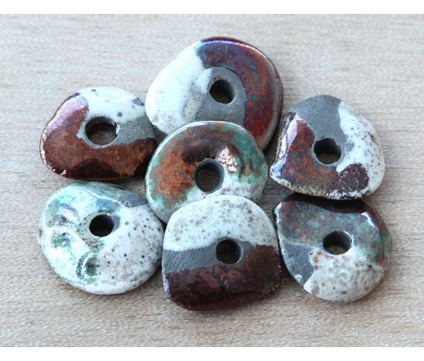 18x14mm Cornflake Raku Ceramic Beads, Tricolor, Pack of 2