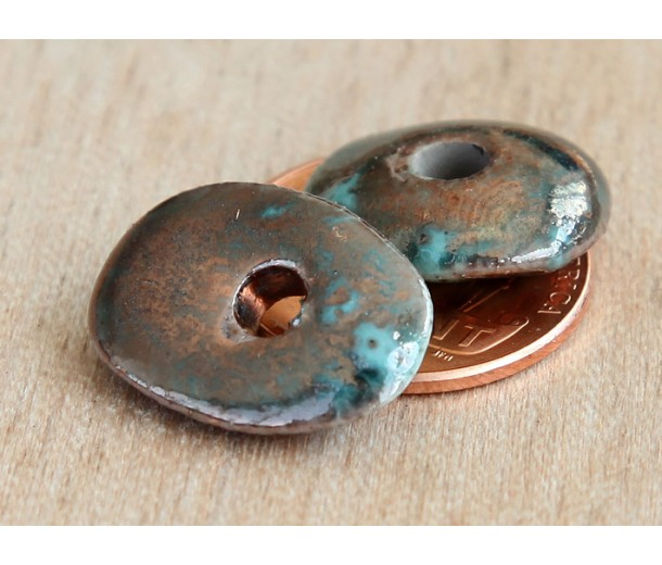 18x14mm Cornflake Raku Ceramic Beads, Sea Copper