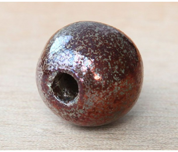 24mm Round Raku Ceramic Bead, Forest