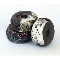 25x13mm Textured Donut Raku Ceramic Bead, Tricolor