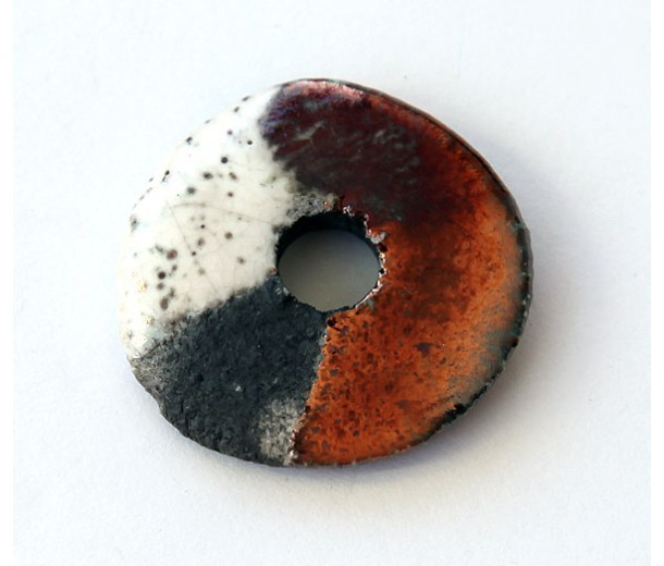 25mm Large Disk Raku Ceramic Focal Bead, Tricolor