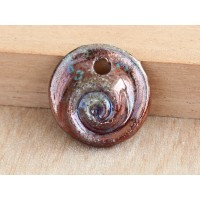 25mm Nautilus Raku Ceramic Pendant, Sea Copper, 1 Piece