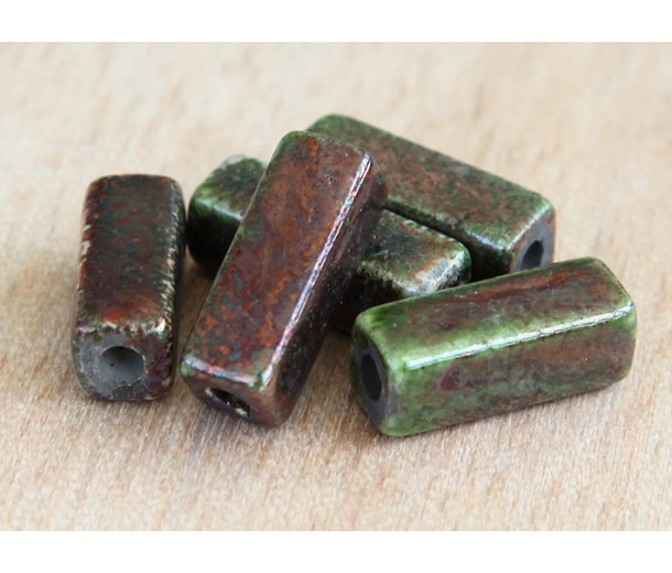 6x17mm Square Tube Raku Ceramic Beads, Forest, Pack of 3
