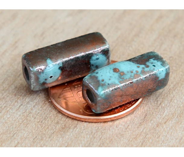 6x17mm Square Tube Raku Ceramic Beads, Sea Copper, Pack of 3