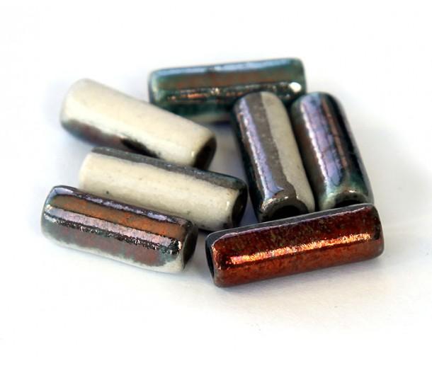 6x17mm Thick Tube Raku Ceramic Beads, Tricolor, Pack of 3