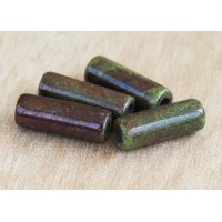 6x17mm Thick Tube Raku Ceramic Beads, Forest, Pack of 3