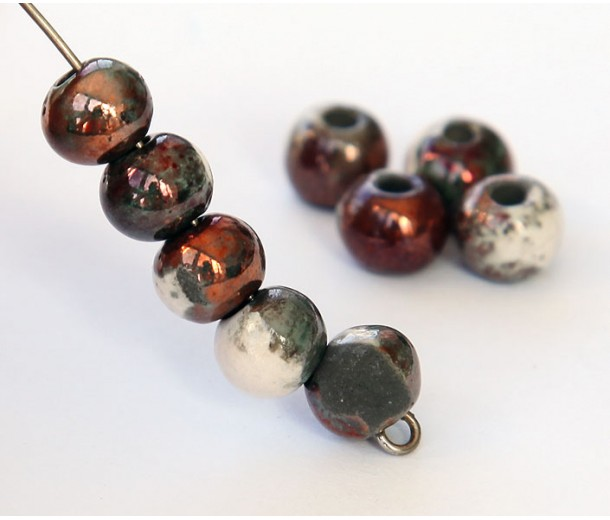 6mm Round Raku Ceramic Beads, Tricolor, Pack of 6