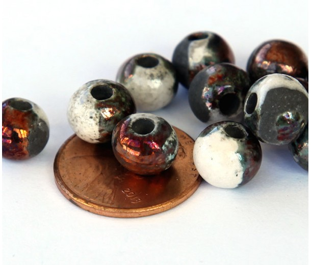 6mm Round Raku Ceramic Beads, Tricolor