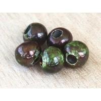 6mm Round Raku Ceramic Beads, Forest, Pack of 6