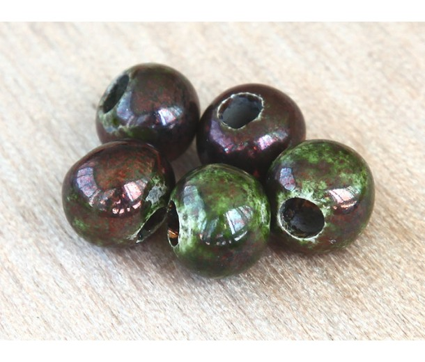 6mm Round Raku Ceramic Beads, Forest, Pack of 6