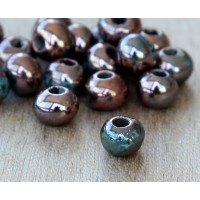 6mm Round Raku Ceramic Beads, Sea Copper, Pack of 6