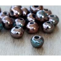 6mm Round Raku Ceramic Beads, Sea Copper