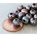 6mm Round Raku Ceramic Beads, Sea Copper, Pack of 6
