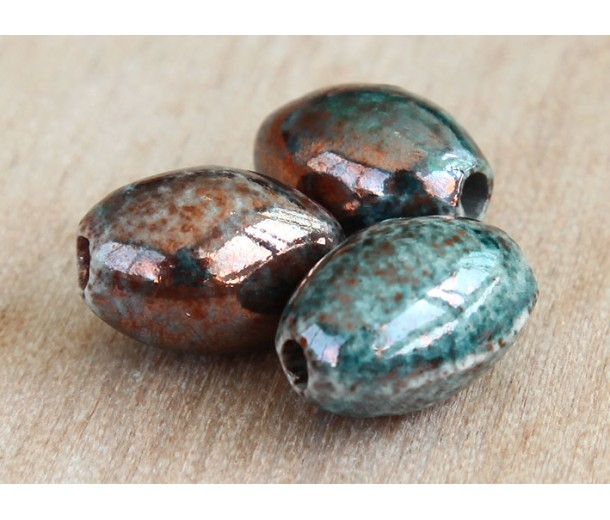 15x7mm Oval Raku Ceramic Beads, Sea Copper