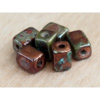 10x8mm Brick Raku Ceramic Beads, Sea Copper