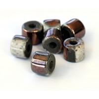 8x7mm Short Barrel Raku Ceramic Beads, Tricolor